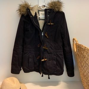 Abercrombie and Fitch Sherpa Lined Navy Blue Coat
